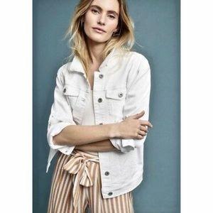 Stylish white jean jacket with eyelit detail